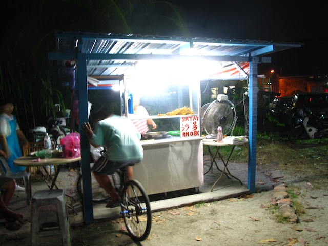 Wooden satay stand