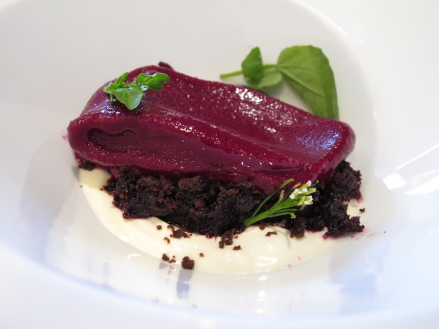 Dessert ~ Beetroot with dark chocolate and creme fraiche