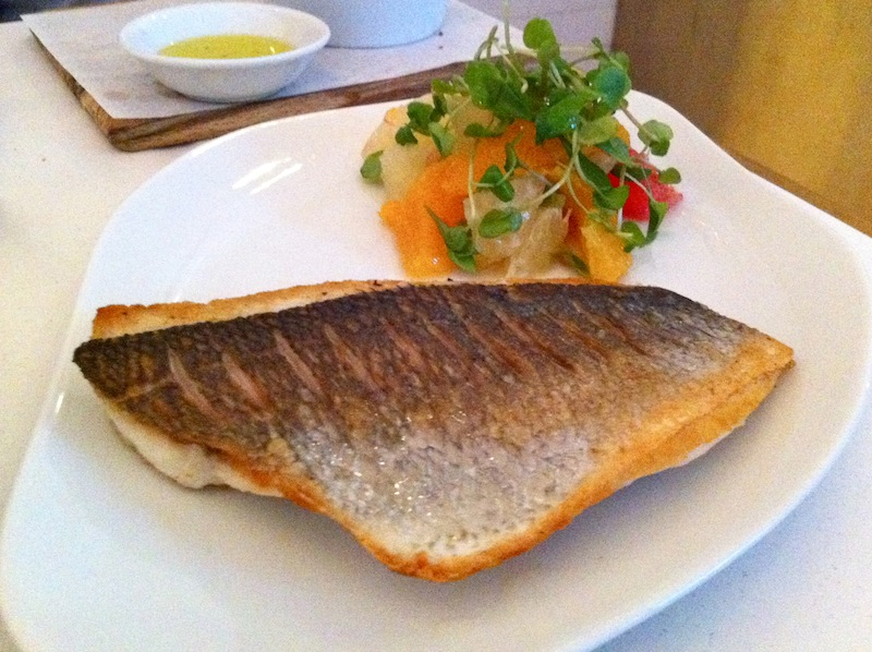 Moist seabass with crispy skin and citrus was a very good combination.