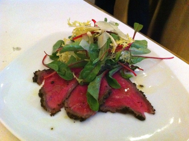 Thinly sliced seared beef was so tender.