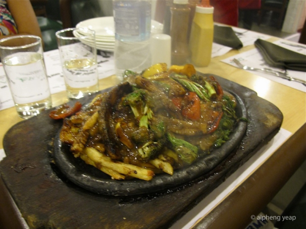 Vegetable sizzlers with rice