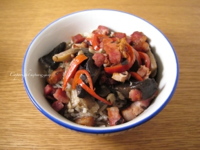 Spicy bacon and mushroom soupy rice