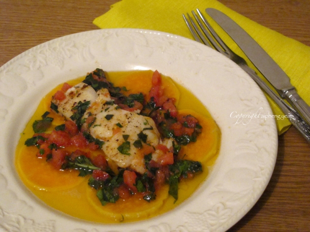 Cod sweet potato sauce vierge 2| The Trishaw