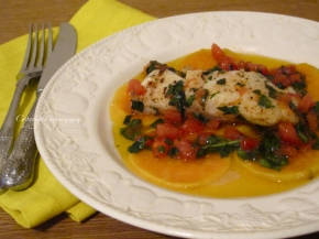 Cod with sweet potato slices and sauce vierge