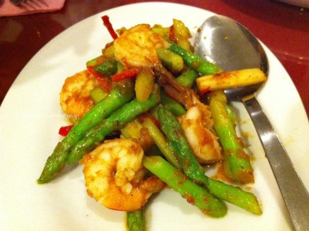 Prawn asparagus in sambal sauce | The Trishaw