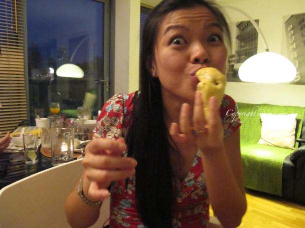Happily eating durian | The Trishaw