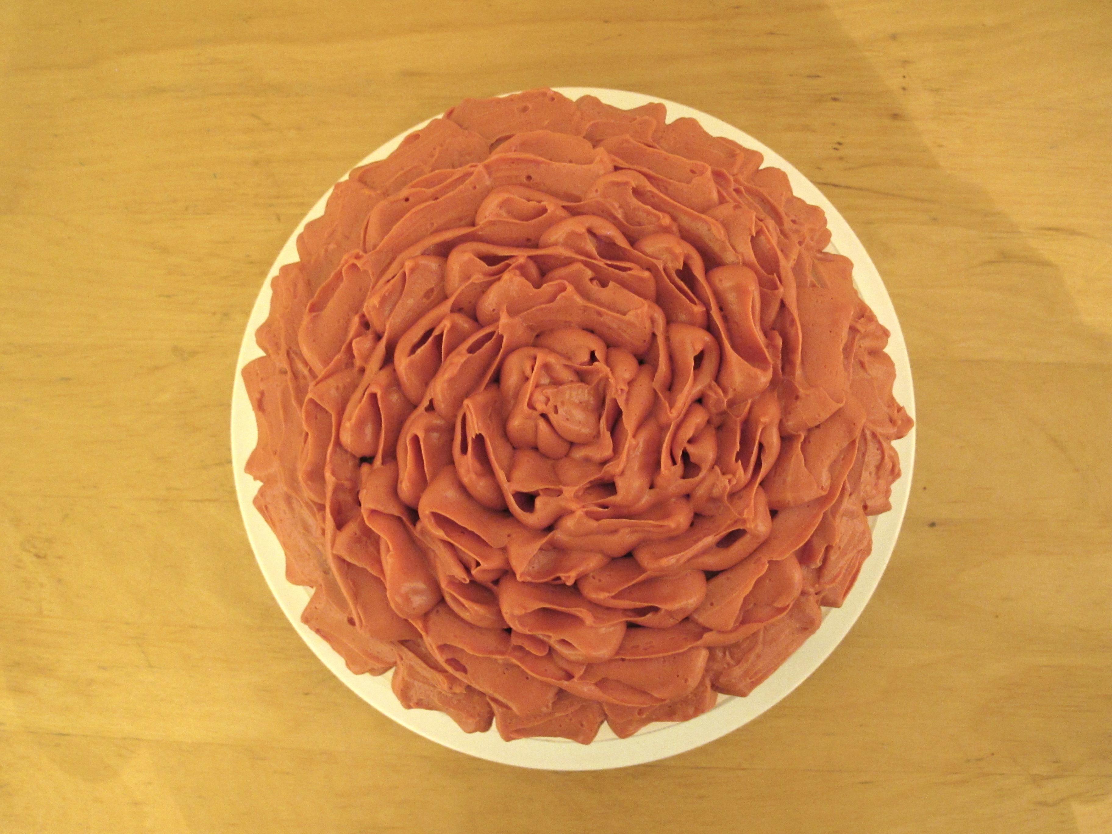 Rose Lychee Raspberry ruffled cake