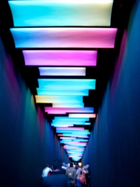 A very colourfully lit entrance to 100% Design