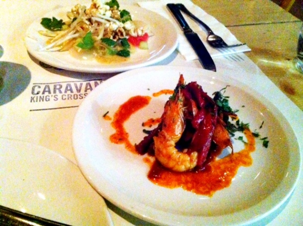 Grilled prawns with cszabai sausage