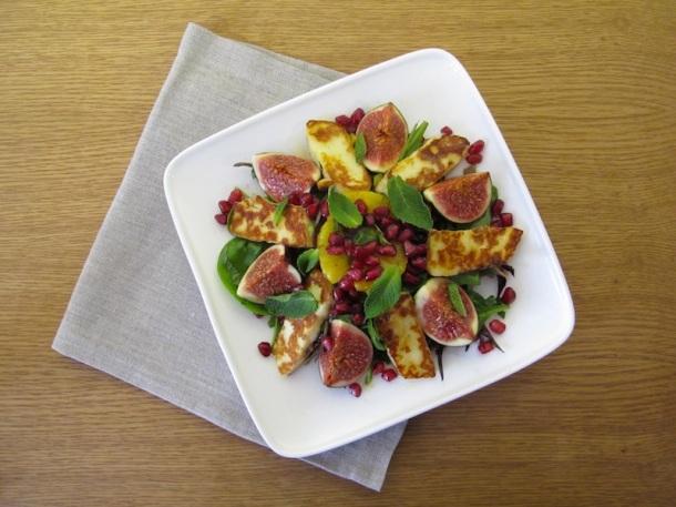 Halloumi, fig & pomegranae salad