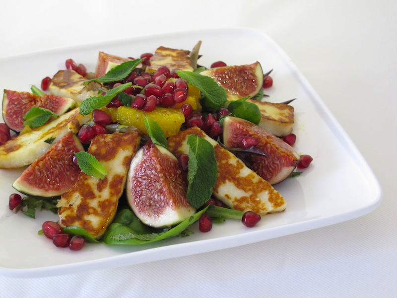 Halloumi, fig & pomegranae salad